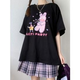 Lolita Corset For Women Jewel Neck Short Sleeves Black Polyester T-Shirt