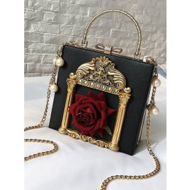 Lolita Handbag Flower Pearl PU Lolita Chain Bag