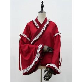 Lolita Tops Burgundy Long Sleeve Polyester Lolita Lovely Blouse