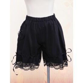 Lolita Black Cotton Lolita Bloomers Lace Trim Ribbons