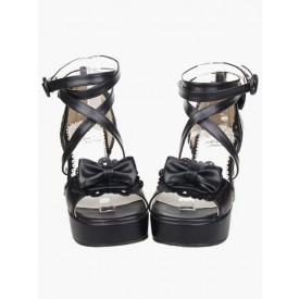 Lolita Black Lolita Sandals Chunky Heels Platform Ankle Straps Bow
