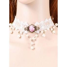 Lolita Classical Lolita Necklace Rose Lace White Lolita Choker