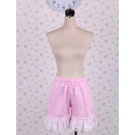 Lolita Cotton Pink Lolita Bloomers Shirring Lace Trim