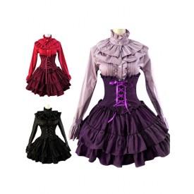 Lolita Gothic Lolita Dress SK Lavender High Waist Lace Up Ruffles Lolita Skirt