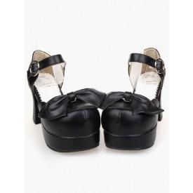 Lolita Lovely PU Leather Black Lolita Sandals