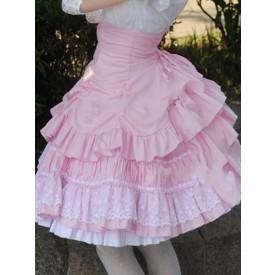 Lolita Sweet Lolita Dress SK Pink Lace Criss Cross Ruffle High Waist Cotton Lolita Skirt