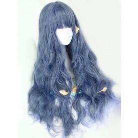 Lolita Sweet Lolita Wigs Long Curly Royal Purple Harajuku Fashion Wigs With Blunt Fringe