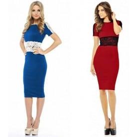 Long-Sleeved Lace Slim Dress