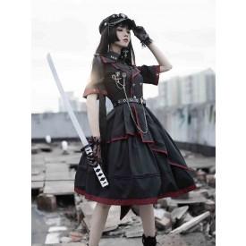 Military Style Lolita OP Dress 3 Pieces Set Black Chains Rivets Gothic Lolita One Piece Dresses