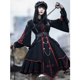 Military Style Lolita OP Dress 3 Pieces Set Black Long Sleeves Polyester Lolita Dress Outfit