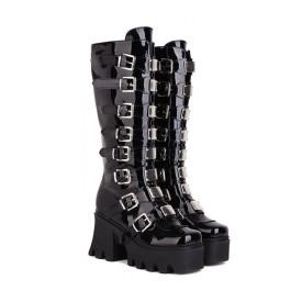 PU Leather Lolita Boots Round Toe Black Lolita Footwear