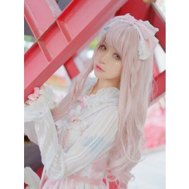 Pink Lolita Wigs Long Curly Blunt Bangs Kawaii Synthetic Hair Wigs