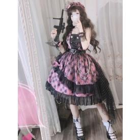 Pink Punk Sweet Lolita JSK Dress Plaid Bows Ruffles Lolita Jumper Skirts