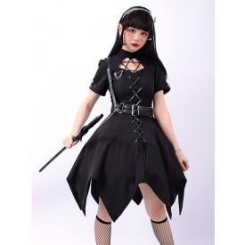 Pre-Sale Gothic Lolita OP Dress Black Short Sleeves Ruffles Lace Up Black Lolita One Piece Dress