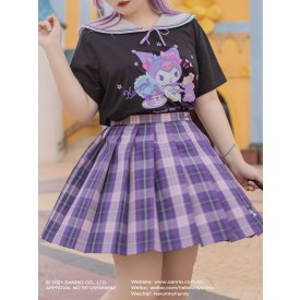 Sanrio Authorized Plus Size Sweet Black Lolita Blouse Cover-ups Bows Top Bow Polyester Jumper Lolita Shirt