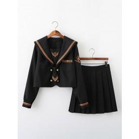 School Uniform JK Outfit Black Cotton Sailor Suit