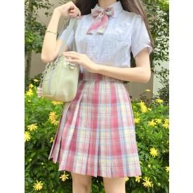 School Uniform JK Outfit Pink Plaid Summer Sailor Suit