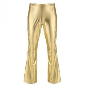 Shiny Metallic Sissy Flared Long Pants