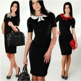 Short Sleeve Slim Bow Dress