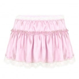 Smooth Satin Elastic High Waist Lace Hem Skirt