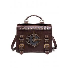 Steampunk Lolita Bag Coffee Brown PU Leather Rivets Metal Details Cross-body Bag Lolita Accessories