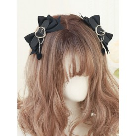 Sweet Lolita Accessories Black Chains Polyester Fiber Headwear Hearts Pattern Miscellaneous