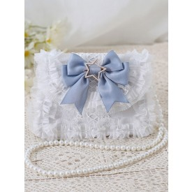 Sweet Lolita Bag Baby Blue PU Leather Bows Lace Embellishment PU Leather Cross-body Bag Lolita Accessories