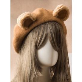 Sweet Lolita Beret Cute Bear Ear Wool Lolita Hat
