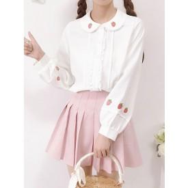 Sweet Lolita Blouse White Pink Strawberry Pattern Peter Pan Collar Long Sleeve Polyester Lolita Shirt