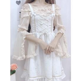 Sweet Lolita Blouses Lace Ruffles Long Sleeves Blouse Polyester Apricot Lolita Shirt