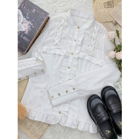 Sweet Lolita Blouses Lace Up Long Sleeves Polyester Lolita Top Lace White Lolita Shirt