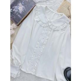 Sweet Lolita Blouses White Long Sleeves Ruffles Polyester Casual Lolita Shirt