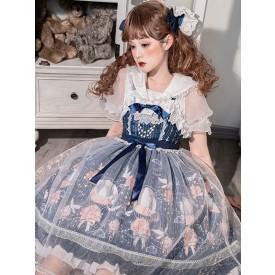 Sweet Lolita Blouses White Short Sleeves Lace Ruffles Lace Lolita Shirt