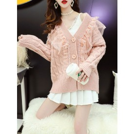 Sweet Lolita Coats Pink Polyester Long Sleeve Overcoat Winter Lolita Sweater Outwears
