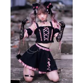 Sweet Lolita Dress 3-Piece Set Polyester Ruffles Bows Sleeveless Polyester Pink Black Sweet Lolita Dress Outfit