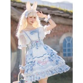 Sweet Lolita Dress Polyester Bows Polyester Light Sky Blue Lolita Skirt Oversleeves Bowknot 3-Piece Set