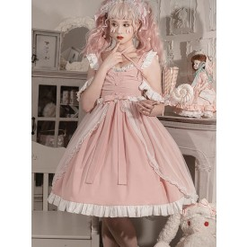 Sweet Lolita Dress Polyester Ruffles Lace Bows Sleeveless Sweet Lolita Jumper Skirt