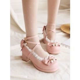 Sweet Lolita Footwear Bows Ruffles PU Leather Chunky Heel Lolita Pumps
