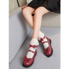 Sweet Lolita Footwear Red Bows PU Leather Flat Lolita Shoes