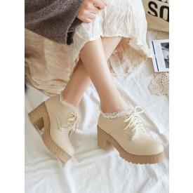 Sweet Lolita Footwear Round Toe Chunky Heel PU Leather Lolita Shoes