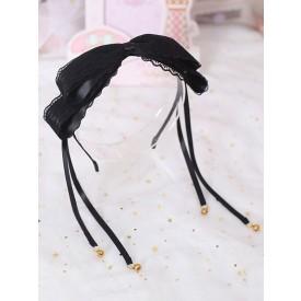 Sweet Lolita Hair Clasp Bow Lace Bell Black Lolita Hair Accessory