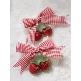 Sweet Lolita Hairpin Strawberry Plaid Lace Trim Lolita Hair Accessory