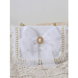 Sweet Lolita Handbag Bow White Pearls Bows Lace Cross-body Bag PU Leather Lolita Accessories
