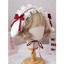 Sweet Lolita Headdress Bunny Ears Lace Bows Lace Headband
