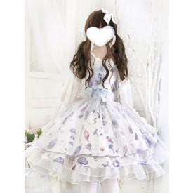 Sweet Lolita JSK Dress Aurelia Printed Bows White Lolita Jumper Skirts
