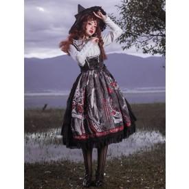Sweet Lolita JSK Dress Black Silver Sleeveless Bows Polyester Fiber Lolita Jumper Skirts