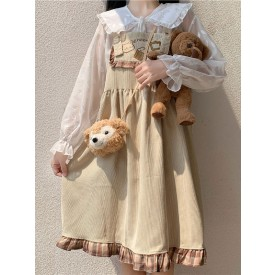 Sweet Lolita JSK Dress Corduroy Sleeveless Light Yellow Brown Academic Lolita Jumper Skirt