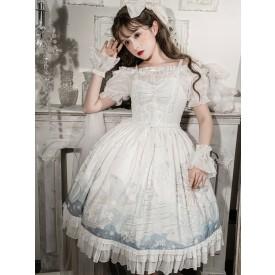 Sweet Lolita JSK Dress Lace Bows Polyester Sleeveless White Sweet Lolita Jumper Skirt