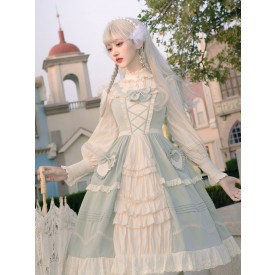 Sweet Lolita JSK Dress Mint Green Sleeveless Bows Lace Up Lolita Jumper Skirts