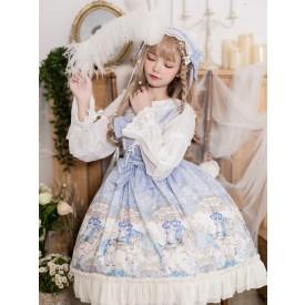 Sweet Lolita JSK Dress Polyester Floral Print Pattern Sleeveless Lace Bows Sweet Lolita Jumper Skirt
